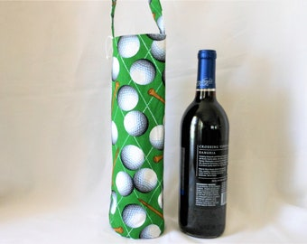 golf theme wine tote gift bag, birthday present for him and her, single wine bottle holder, fun gift for people who like golf