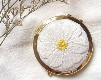 Hand Embroidered Cosmos Flower Compact Mirror, Hand Stitched
