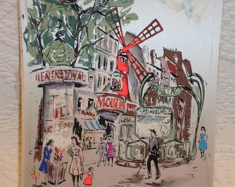 Painting On Silk French Street Scene Mid Century
