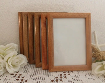 Vintage 5 x 7 Frame Golden Brown Wood Picture Photo Rustic Eco Friendly Country Cottage Natural Home Decor Wedding Table Number Wall Gallery