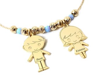 Personalized Children Charms Necklace with Name Engraved And Opal Stone Boy Charm, Girl Charm Pendant custom Engraved Names, MOM Jewellery
