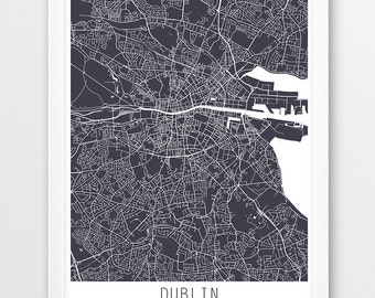 Dublin City Urban Map Poster, Dublin Street Map Print, Dublin Ireland Grey Map, Modern Wall Art, Home Decor, Travel Poster, Printable Art