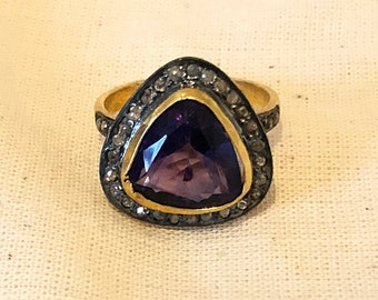 Stunning Diamond & Amethyst Ring