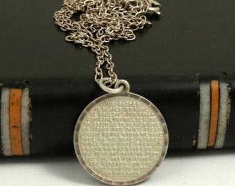 Vintage Sterling Silver Lords Prayer Pendant with Chain Necklace