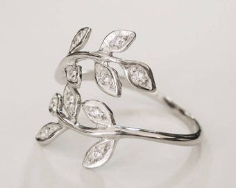 cz leaf ring, flower ring, nature ring, wrap ring, adjustable ring, silver leaf ring, women leaf ring, floral ring, floral, minimal ring
