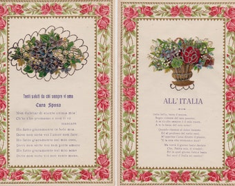 Two Folded Antique Italian Victorian Love Poems on Writing Paper Die Cuts Glitter
