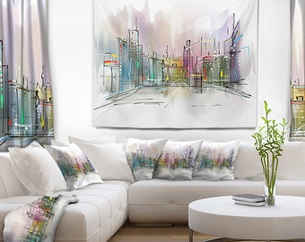 Designart City in a Distance Illustration Cityscape Wall Tapestry, Wall Art Fit for Wall Hanging, Dorm, Home Decor