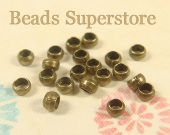 2 mm Antique Brass Crimp Bead - Nickel Free and Lead Free - 200 pcs (CRB2AB)