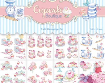 BLOCK set 24 sheet A cutting CUPCAKE kitchen cake flag SCRAPBOOKING SCRAP 20 x 20 cm