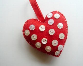 Red Felt Heart with Vintage Buttons and Hanger Stuffed Heart