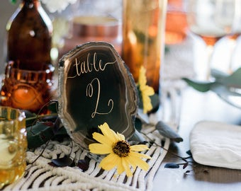 Wedding Table Numbers - Wedding Decor - Agate - Agate Table Numbers - Modern Table Decor