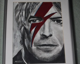 david bowie,..20x16 ins.mounted, framed  original painting .ready to hang b