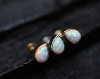 White opal teardrop screw flat back cartilage stud,helix earring,lip ring,medusa piercing,conch earring