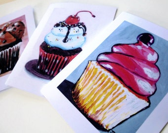 Blank Cupcake Cards - Art Note Cards (Ed. 6), Set of 8 Notecards