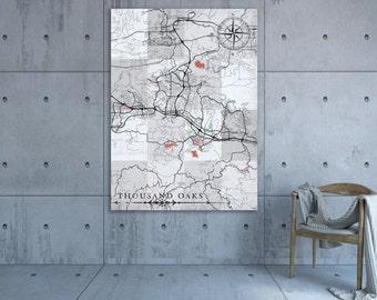 Thousand oaks map etsy thousand oaks ca canvas print california vintage map thousand oaks ca city black white grey wall ppazfo