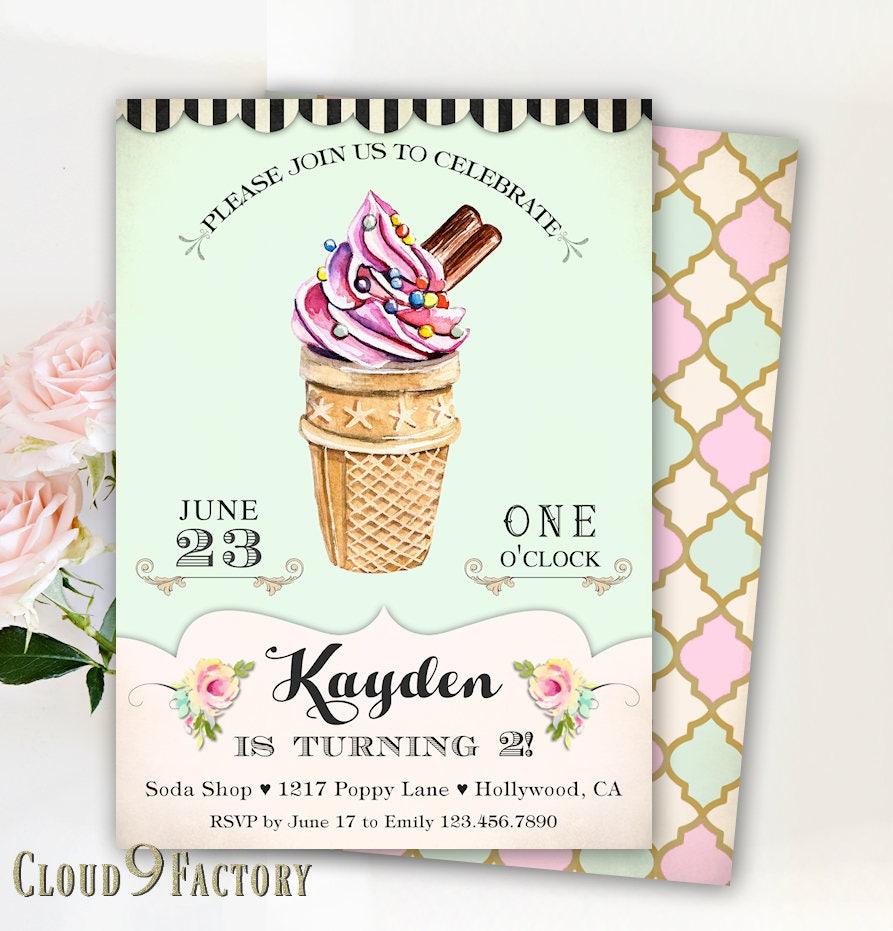 Ice Cream Party Invitation Ice Cream Party Invites Ice Cream
