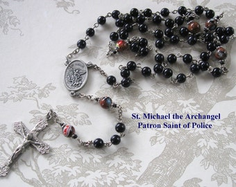 POLICE Rosary/ST. MICHAEL Rosary/Blue Goldstone Rosary