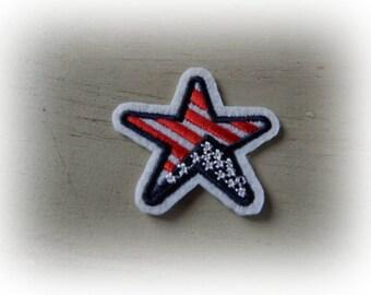 1 patch fusible patch / applique star tricolor USA 4.7 cm