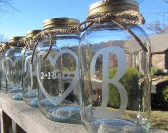4 Etched Mason Jars -  4 Wedding Mason Jar Center Pieces