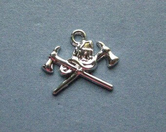 4 Fire Department Charms - Fireman Charms - Firefighter Charm - Fireman - Fire Department-  Bright Silver - 19mmx 17mm  --(B1-12031)