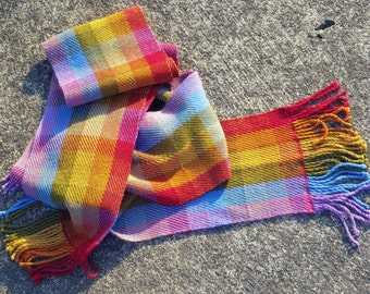 Pixelated Rainbow Scarf - hand woven