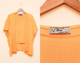 80s Yellow Orange Blouse // Power Woman Cocoon Blouse // Arthur Max Two Piece Top Loose Fit Shawl Shoulder Pads Size Small Medium