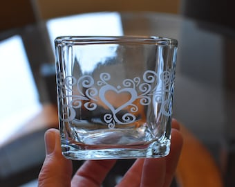 Candle - Heart Sand Blasted Candle