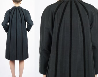 Vintage 40's/50's Black Faille Open Swing Jacket with Radiant Velvet Stripes    Small Medium