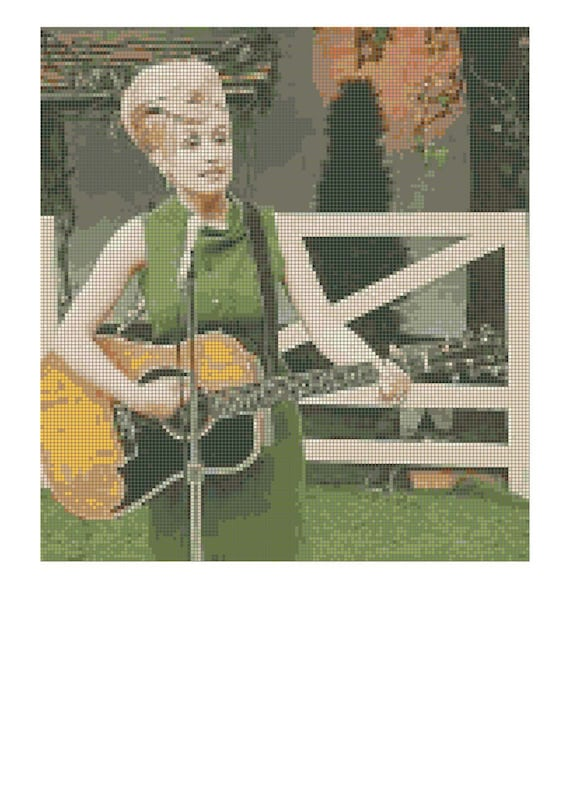 Dolly Parton Guitar Cross Stitch Pattern-Country Western Music-Early Dolly Photo-Downloadable Counted Cross Stitch Pattern-Feminist Hero