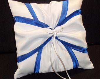 White or Ivory Wedding Ring Bearer Pillow Royal Blue Accent