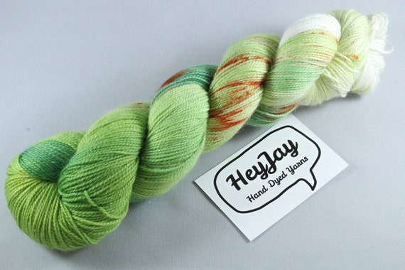 Hand Dyed Sparkle Sock Yarn - Acorn