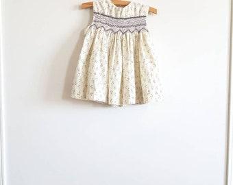 Vintage Cream Floral Toddler Dress