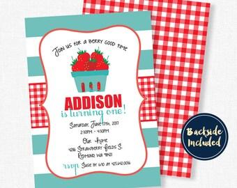 Strawberry Birthday Invitation, Summer Birthday Invitation, Girl First Birthday Invitation, Fruit Invitation, Berry Sweet Invitation