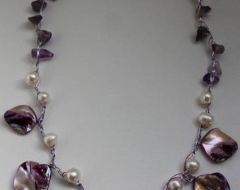 Green Pearl Necklace with amethysts and natural pearls