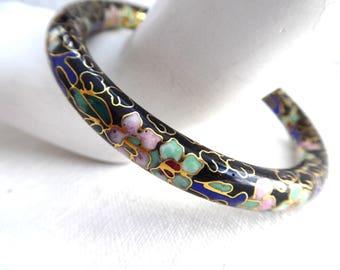Vintage Boho Bracelet Chinese Cloisonne Bangle Floral Design 1920s Bangle Harem Exquisite Workmanship