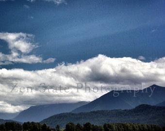 Summer Landscape Photograph. Blue Green Art Print. Cloud Photo. Fine Art Nature Home Decor. Mountain Photography. Nature Photography.
