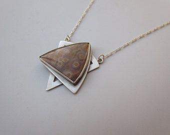 Star of David, ocean jasper in sterling silver necklace