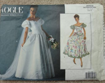 Vogue Bridal original pattern size 6-8-10 No 2933
