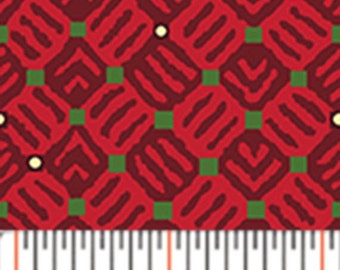 Half Yard Santa's Here - Tiles in Claret Red - Christmas Cotton Quilt Fabric - Inspired by Nancy Halvorsen for Benartex - 6072-15 (W2967)
