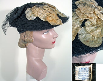 1940s Black Straw and White Floral Hat