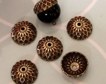 Acorn Bead Cap, Antique Gold, 12 mm, 6 Pc.  AG325