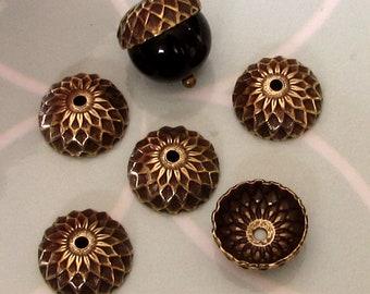 Eichel-Kappe, antikes Gold, 12 mm, 6 Pc.  AG325