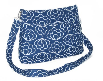 Organic Handmade Sophisticate Cross Body Purse - Navy Blossom - Free Shipping