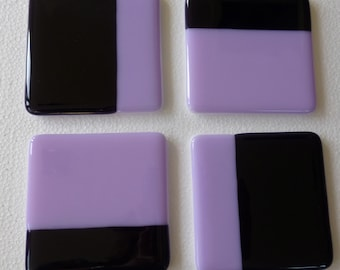 Fused Glass Coasters with Lilac and Violet - set of 4 MTO