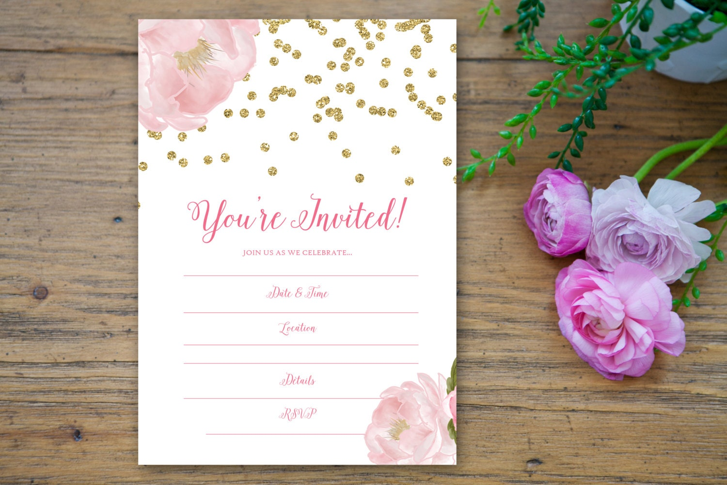 Sparkle Peony Fill in the Blank Invitation 5x7 hand write