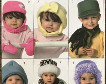 UNCUT Butterick 4673 Baby Toddler Child Hat, Scarves and Mittens Sewing Pattern Winter Hat, Snow Hat, Cold Weather, Winter, Christmas Gift