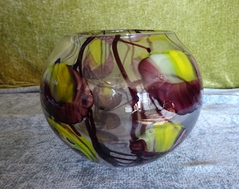 Large vintage art glass  / studio glass bowl vase