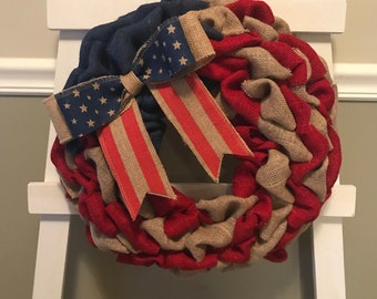 Every Day Wreath, Front Door Wreath, Flag Wreath, Memorial Day Wreath, Fourth of July Wreath, Burlap Wreath, Stars and Stripes Wreath