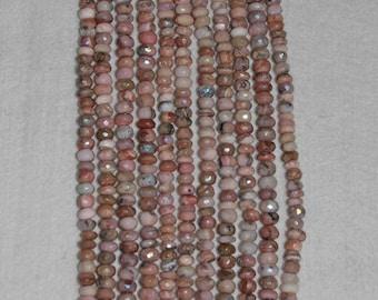 AB, Opal, Pink Opal, Pink Opal Rondelle, Faceted Rondelle, Gemstone, Natural Gemstone, Peruvian Opal, Sparkle, HALF Strand, 7.5-8mm