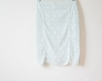 90s Baby Pale Blue Lace Skirt